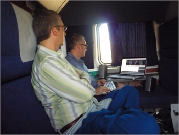 Director Alexander Payne works with editor Kevin Tent on the assembly for 'The Descendants' during a cross country trip together on an Amtrak train.