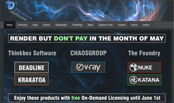 Thinkbox Software offering free, on-demand licensing all month
