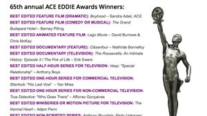 A.C.E. Eddie Awards recognize editing excellence
