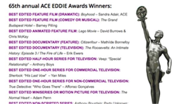 ACE EDDIE Awards to be presented Sunday